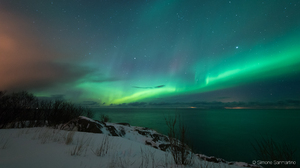 Aurora Borealis Blue Green Horizon Night Sky 1920x1080 wallpaper