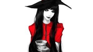 Artistic Black Hair Cup Girl Long Hair Witch Witch Hat Woman 1920x1200 Wallpaper