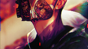 Rashed AlAkroka Glitch Art Looking At Viewer Mask Vertical Girls With Guns Drawing Cyberpunk Digital 2000x3109 Wallpaper