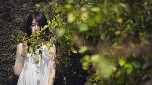 Asian Women Model Dark Hair Plants 2400x1360 Wallpaper