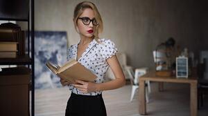 Women Sergey Fat Ksenia Kokoreva Red Lipstick Blonde Books Women With Glasses Portrait Looking Away  1920x1080 Wallpaper