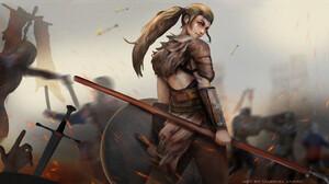 Warrior Women Battle Looking Back Sparks Brunette Digital Art Digital Painting Fan Art Artwork 2080x1171 Wallpaper