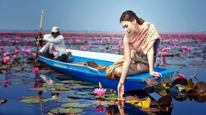 Asian Model Women Long Hair Brunette Depth Of Field Traditional Clothing Water Lilies Boat Ponytail  1920x1080 Wallpaper