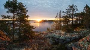 Fall Sunbeam Sunset Nature Lake Ladoga 2048x1365 wallpaper