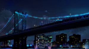 Blue City Light Manhattan Manhattan Bridge New York Night 2283x1739 wallpaper