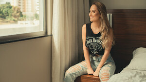 Women Model Blonde Smiling Necklace Black Tops Jeans Torn Jeans Torn Clothes Sitting Indoors Women I 1920x1280 Wallpaper