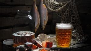 Alcohol Beer Drink Fish Still Life 3582x2684 Wallpaper