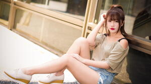 Asian Model Women Long Hair Brunette Sitting Jeans Shorts Shirt Ponytail Shoes Leaning Window 1920x1281 Wallpaper