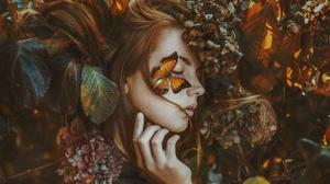 Butterfly Face Flower Girl Hydrangea Model Mood Redhead Woman 2000x1333 Wallpaper