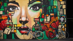 Artistic Bicycle Colorful Colors Face Girl Graffiti 5845x3590 Wallpaper
