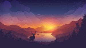 Landscape Valley Lake Forest Colorscape Sunset Elk Deer 1920x804 Wallpaper