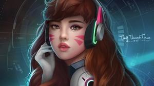 D Va Overwatch Face Long Hair Headphones Brown Hair 2000x1600 wallpaper