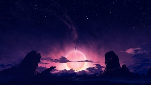 Digital Painting Science Fiction Landscape Night Sky Mountains Clouds Astronaut Voyager BisBiswas 1920x1080 Wallpaper