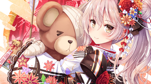 Arisu Shimada Brown Eyes Girl Japanese Clothes Long Hair Teddy Bear White Hair 2156x1550 Wallpaper