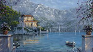 Artistic Boat Hotel Lake Mountain Painting 1920x1456 Wallpaper