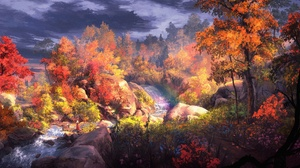 Fall Foliage Forest River Tree Woman Warrior 3840x2160 Wallpaper