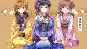Artwork Anime Fan Art Japanese Kimono Dark Hair Brunette Brown Eyes Blue Eyes Anime Girls Japanese C 2148x1483 Wallpaper