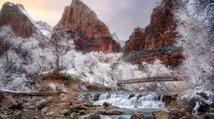Rock Rock Formation Outdoors Nature Winter Snow Ice Trees Water Bridge 2560x1687 Wallpaper