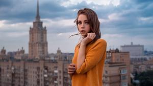 Ksenia Kokoreva Women Brunette Long Hair Straight Hair Hands In Hair Orange Sweater City Sky Clouds  1280x800 Wallpaper