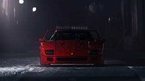 Car Rain Snow Pop Up Headlights Ferrari F 40 Ferrari F40 Frontal View Ferrari 1920x1075 Wallpaper