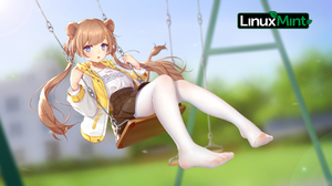 Linux Linux Mint Anime Girls Pigtails Feet Tights Blonde Nylon Stockings Anime 5139x2890 wallpaper
