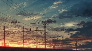 Nature Landscape Clouds Sky Rice Paddy Sunset Anime Girls Natsu Artist 1200x1440 Wallpaper