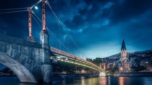 France Lyon Bridge Church River Lights Sky Night 1920x1200 wallpaper