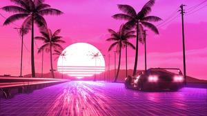 Digital Art Pink Sun Car Palm Tree 2560x1994 wallpaper