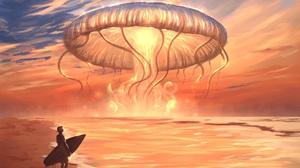 Beach Men Landscape Sky Sea Digital Art Artwork Summer Explosion Sunlight Sunset Water Clouds 4000x3200 Wallpaper