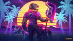 Smite Watermarked Anthro Tyrannosaurus Rex Dinosaurs Synthwave Palm Trees Musical Instrument Gloves  3840x2160 Wallpaper