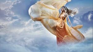 Blonde Cloud Girl Long Hair Model Sky Woman Yellow Dress 5976x4492 Wallpaper