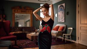 Women Portrait Armpits Black Dress Hips Fenix Raya 1600x900 Wallpaper