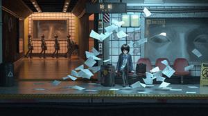 Anime Girls School Uniform Eyes Creepy Metro Short Hair Black Hair Kryp132 3000x1500 Wallpaper