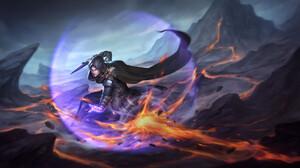 Takashi Tan Drawing Men Warrior Magician Shield Fireballs Dagger Lava Fantasy Art Hoods Cape 1920x1068 Wallpaper