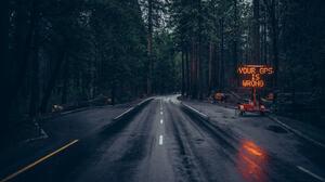 Dark Spooky Road Forest 500px Sign Humor Wet Street Neon Sign Asphalt 2048x1366 Wallpaper