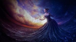 Artistic Cloud Dress Girl Ocean Sea Sunset Woman 1920x1200 Wallpaper