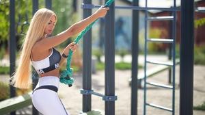 Dmitry Shulgin Women Model Women Outdoors Blonde Long Hair Makeup Ropes Straight Hair Dyed Hair Look 2048x1365 Wallpaper