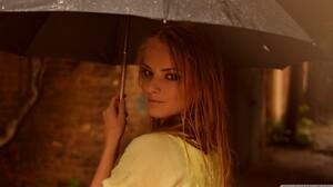 Women Blonde Umbrella Looking Back Yellow Sweater Women With Umbrella 1366x768 Wallpaper