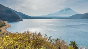 Lake Motosu Mount Fuji Japan Spring Minobu Cho Yamanashi Prefecture Yamanashi 4928x3280 Wallpaper