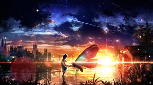 Butterfly Girl Sky Starry Sky Sunset 2940x1700 Wallpaper