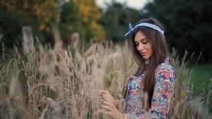Women Model Brunette Dress Portrait Outdoors Depth Of Field Bokeh Dry Grass Headband Smiling Painted 2560x1708 Wallpaper