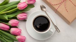 Coffee Cup Flower Pink Flower Still Life Tulip 5616x3744 Wallpaper