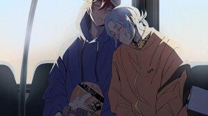 SK8 The Infinity Yaoi Sleeping Parted Lips Train Anime Boys Orange Jacket Skateboarding Jeans Blue C 2048x2048 Wallpaper