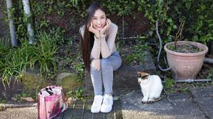 Asian Model Women Long Hair Dark Hair Sitting Jeans Sneakers Flowerpot Plants Bushes Holding Head Ca 2560x1706 Wallpaper
