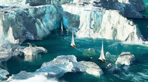 Artwork Digital Art Boat Glacier Sea Sailboats 2970x1470 Wallpaper