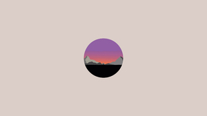Digital Vector Soft Gradient Hills Landscape Sunset Sunrise Chill Out Minimalism Circle Small 3579x2556 Wallpaper
