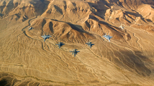 Jet Fighter Aircraft Warplane Desert 4393x2542 Wallpaper