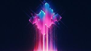 Abstract Colorful Minimalism Glowing Lights Shapes Glitch Art Streaks Digital Art Artwork 5240x3000 Wallpaper