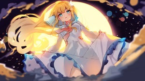 Anime Anime Girls Cheli Artwork Blonde Blue Eyes Dress 2880x1620 wallpaper