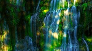 Earth Forest Rock Sunbeam Sunshine Waterfall 2048x1248 Wallpaper